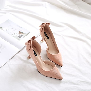בגדי ריקוד נשים נעליים עדרים אביב / סתיו נוחות עקבים עקב קצר בוהן מחודדת פפיון שחור / ורוד