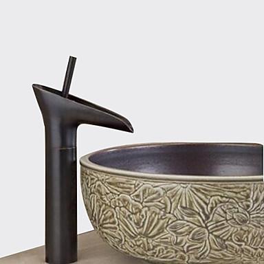 Traditionel Centersat Vandfald Keramik Ventil Et Hul Enkelt håndtag Et Hul Olie-gnedet Bronze, Håndvasken vandhane