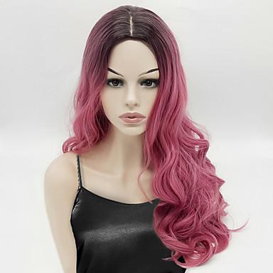 Perucas sintéticas Ondulado Rosa Cabelo Sintético Cabelo Ombre Rosa Peruca Mulheres Longo Sem Touca Rosa