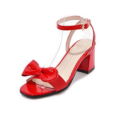 Mujer Zapatos Semicuero Verano Tira en el Tobillo Sandalias Tacón Cuadrado  Puntera abierta Pajarita Negro   46e8507e52c8
