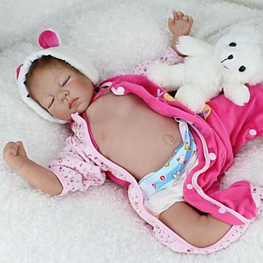 halpa Reborn Dolls-NPKCOLLECTION NPK DOLL Reborn Dolls Vauvalelu Vauvat Reborn Baby Doll Silikoni - elävä Cute Käsintehty Lapsiturvallinen Non Toxic Lovely Lasten Lelut Lahja / Vanhempien ja lasten vuorovaikutus