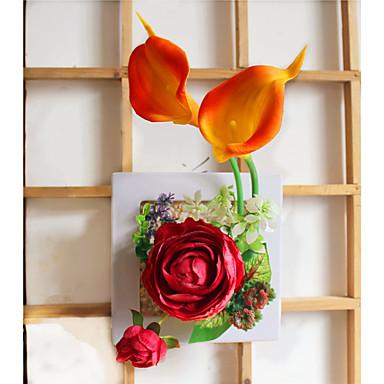 פרחים מלאכותיים 1 ענף פסטורלי סגנון ורדים / חבצלות (קלה לילי) פרחים לקיר