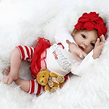NPK DOLL בובה מחדש תינוק 22 אִינְטשׁ סיליקון / ויניל - כְּמוֹ בַּחַיִים, ריסים ידניים, ציפורניים אטומות וחותמות הילד של בנות מתנות / CE / עור טבעי / ראש דיסקט