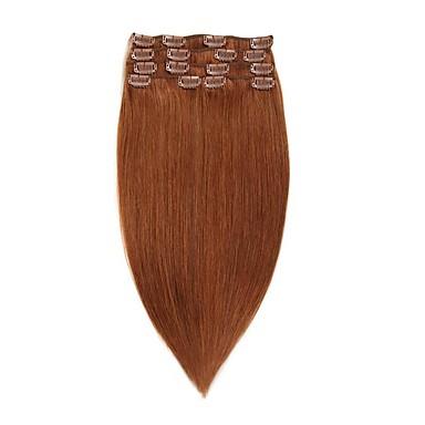 נתפס עם קליפס תוספות שיער אדם 7Pcs / חבילה 70g / חבילה בינוניחום בינוני / תות בלונדינית בינוני בראון / Bleach בלונדינית גולדן בראון /
