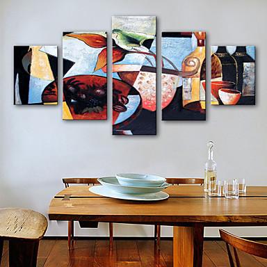 הדפסי בד מתוחים מודרני, חמישה פנלים בַּד אנכי דפוס דקור קיר קישוט הבית