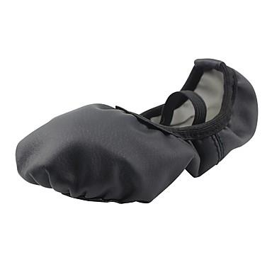 נעלי בלט דמוי עור שטוחות שטוח מותאם אישית נעלי ריקוד שחור / אימון