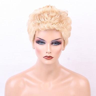povoljno Ljepota i kosa-Ljudski kose bez kaplama Ljudska kosa Kovrčav Pixie frizura / Stepenasta frizura / Kratke frizure 2019 / Sa šiškama Stil Srednja dužina Machine Made Perika Žene