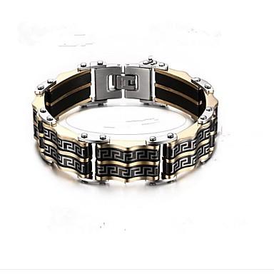 בגדי ריקוד גברים גיאומטרי שרשרת וצמידים - פלדת על חלד אופנתי צמידים שחור עבור מתנה / יומי