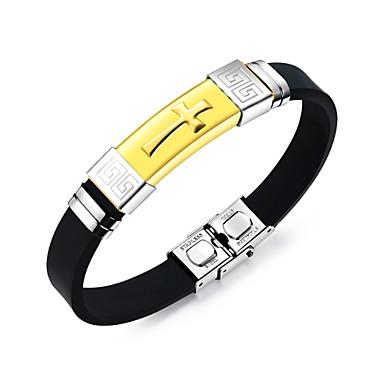 abordables Bracelet-Bracelet Jonc Bracelet ID Homme Acier inoxydable Croix Mode Bracelet Bijoux Dorée Noir Argent pour Quotidien Sortie