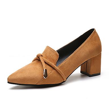 בגדי ריקוד נשים נעליים קשמיר אביב נוחות עקבים עקב עבה בוהן מחודדת שחור / קאמל