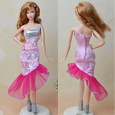 שמלות בחתיכה אחת ל ברבי דול ורוד חיוור טֶקסטִיל סטן אלסטי שמלה ל הילדה של בובת צעצוע