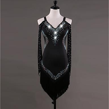 ריקוד לטיני שמלות בגדי ריקוד נשים הצגה ספנדקס קריסטלים / אבנים נוצצות שרוול ארוך שמלה