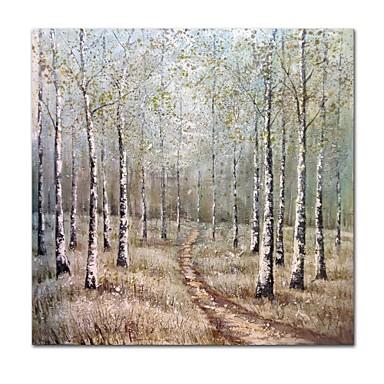 Hang-Malowane obraz olejny Ręcznie malowane - Abstrakcja / Krajobraz Nowoczesne / Nowoczesny Płótno / Rozciągnięte płótno
