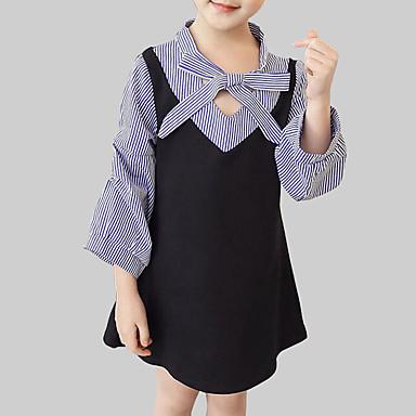 שמלה כותנה פוליאסטר אביב סתיו שרוול ארוך יומי ליציאה פסים טלאים הילדה של חמוד סגנון רחוב שחור