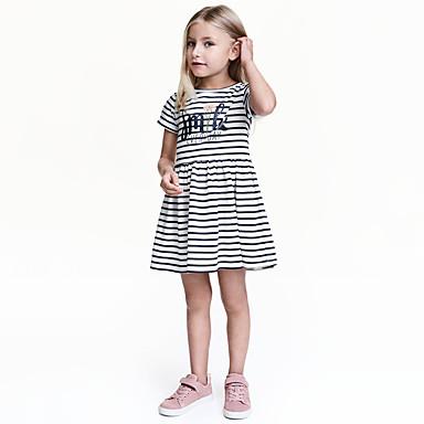 שמלה כותנה אביב קיץ שרוולים קצרים יומי ליציאה אחיד פסים הילדה של יום יומי פעיל לבן