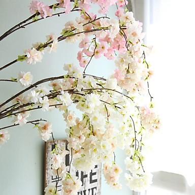 פרחים מלאכותיים 1 ענף חתונה / סגנון ארופאי סאקורה פרחים לקיר