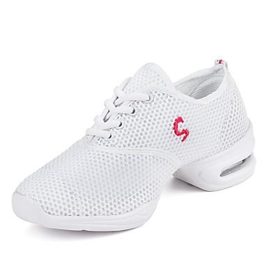 בגדי ריקוד נשים סניקרס לריקוד קנבס / טול נעלי ספורט שחבור עקב נמוך מותאם אישית נעלי ריקוד לבן