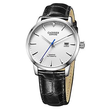baratos Relógios Homem-CADISEN Homens Relógio de Moda Relógio Elegante Japanês Automático - da corda automáticamente Couro Legitimo Preta / Marrom 50 m Impermeável Calendário Relógio Casual Analógico Clássico Fashion