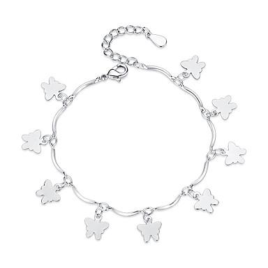 abordables Bracelet-Breloque Charms Bracelet Femme Papillon dames Doux Mode Bracelet Bijoux Argent pour Cadeau Quotidien