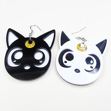 בגדי ריקוד נשים לא תואם עגילי טיפה - שרף חתול מתוק שחור לבן עבור יומי / ליציאה