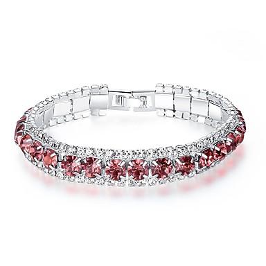 fba37a53e8 Women's Burgundy Crystal Cubic Zirconia tiny diamond Tennis Bracelet  Bracelet Ladies Korean Fashion everyday Crystal Bracelet Jewelry Red /  Green / Blue For ...
