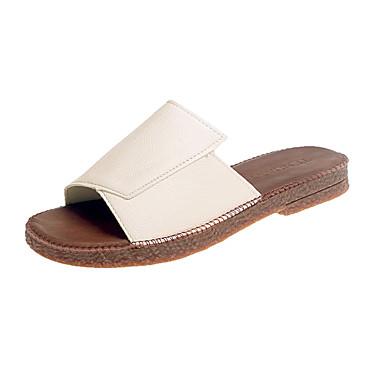 Mulheres Sapatos Couro Ecológico Verão Conforto Sandálias Salto Robusto para Ao ar livre Branco Preto Bege
