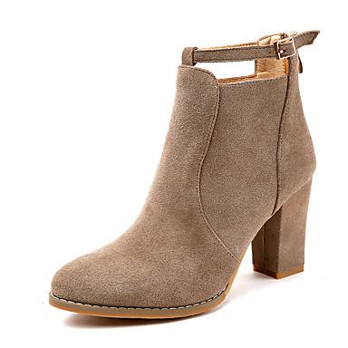 Damen Schuhe Vlies Winter Modische Stiefel Stiefel Flacher Absatz Quaste für Normal Schwarz Khaki