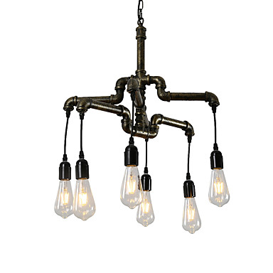 6-head וינטג צינור תעשייתי פשוט לופט ברזל צינור תליון אורות סלון חדר אוכל מטבח קפה מסדרון בר תאורה