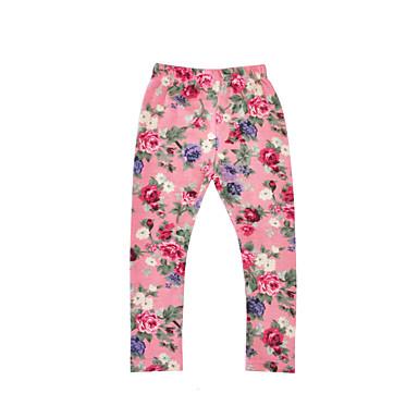 baratos Calças & Leggings para Meninas-Bébé Para Meninas Casual Diário Feriado Floral Estilo Floral Manga Longa Algodão Calças Rosa