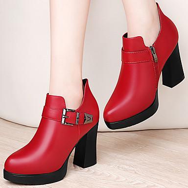 Basique PU Automne de Hiver 06604175 synthétique Rouge Escarpin Noir Talon Confort Bottier à Chaussures Talons Chaussures microfibre Femme CHwz4qX