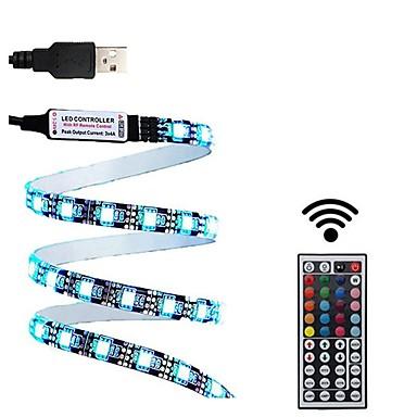 billige LED Strip Lamper-1set 2m usb led stripe lys vanntett smd5050 rgb led stripe fleksibel led lys 44keys ekstern tv bakgrunnsbelysning dc5v