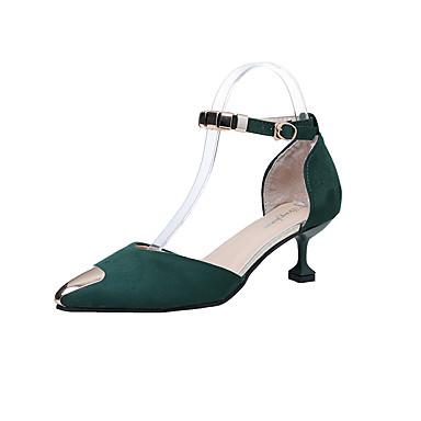 Női PU Ősz Kényelmes Papucs és papuc Alacsony Erősített lábujj Toll Fekete / Sárga / Zöld