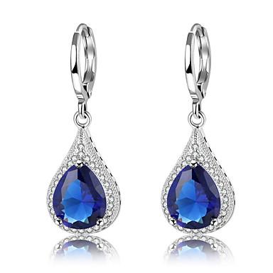 fbb64c3e2 Women's Cubic Zirconia Drop Earrings Zircon Silver Plated Earrings Drop  Vintage Fashion Elegant Jewelry Dark Blue For Party Gift