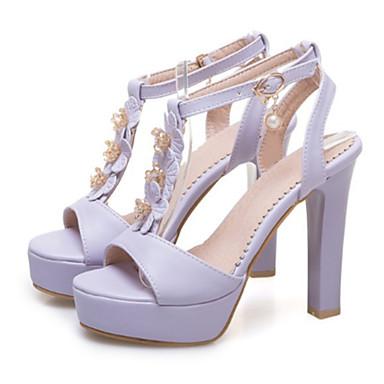 Printemps Polyuréthane Rose Femme Chaussures Bottier Rivet Talon Nouveauté Confort Beige Violet ouvert 06601015 Sandales Bout Boucle Eté HpqEZwE