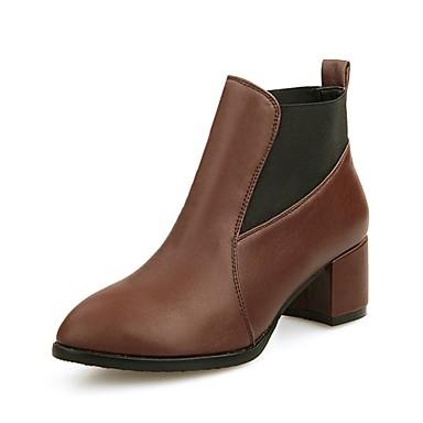Femme Chaussures Similicuir Hiver Bottes à la Mode Mode Mode Bottes Talon Bottier Bout pointu Bottine / Demi Botte Noir / Marron | à Prix Réduits  d11c77