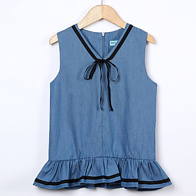 שמלה כותנה אקריליק פוליאסטר אביב קיץ ללא שרוולים יומי ליציאה אחיד דפוס הילדה של וינטאג' פעיל פול