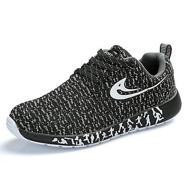 Kadın's Atletik Ayakkabılar Düz Taban Yuvarlak Uçlu Tissage Volant Sportif Koşu İlkbahar yaz Siyah / Kırmzı / Mavi