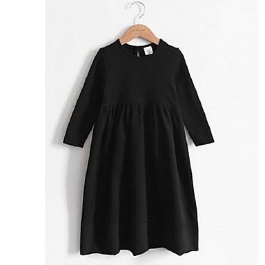 שמלה שרוול ארוך אחיד חגים פשוט / פעיל / בסיסי בנות ילדים / כותנה