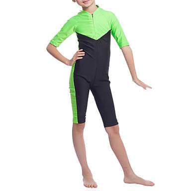 billige Badetøj til piger-Børn Pige Boheme Sport Farveblok Klassisk Stil Halvlange ærmer Polyester Nylon Spandex Badetøj Grøn