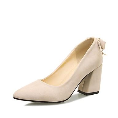 בגדי ריקוד נשים נעליים דמוי עור אביב / קיץ בלרינה בייסיק עקבים עקב עבה בוהן מחודדת פפיון שחור / בז' / ורוד