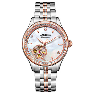 baratos Relógios Senhora-CADISEN Mulheres Relógio Casual Relógio de Moda Japanês Automático - da corda automáticamente Aço Inoxidável Branco / Ouro Rose 50 m Impermeável Relógio Casual Analógico senhoras Fashion Elegante -