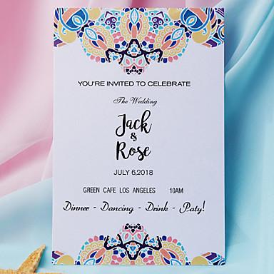 Pojedyncza Kartka Zaproszenia ślubne 20 - Zestawy zaproszeń Styl artystyczny Perłowy papier
