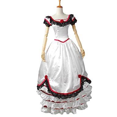 רוקוקו ויקטוריאני תחפושות שמלות תחפושת למסיבה נשף מסכות אדום ולבן וינטאג Cosplay סטן אלסטי שרוולים קצרים בלון\מנופח תחפושות ליל כל הקדושים