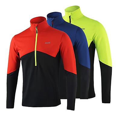 Arsuxeo Herre Lapper T-skjorte til jogging - Lysegul, Navyblå, Rød / Svart sport Spandex Zip Topp Trening, Treningssenter, Trene Langermet Sportsklær Hold Varm, Myk, Refleksbånd Elastisk