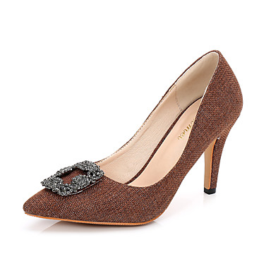 Mujer Zapatos Tela Verano Confort Sandalias Tacón Stiletto Dedo Puntiagudo Pedrería Gris / Verde / Rosa 9jltoanI