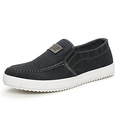 Men's Canvas Spring / Fall Comfort Loafers Gray & Slip-Ons Black / Gray Loafers / Blue bfd333