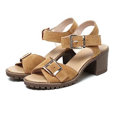 בגדי ריקוד נשים נעליים סינטתי אביב / קיץ נוחות / חדשני סנדלים עקב עבה פתוח בבוהן אבזם שחור / אפור / חום / מסיבה וערב