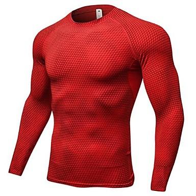בגדי ריקוד גברים צווארון עגול קצר טישרט לריצה - לבן, שחור, אדום ספורט טי שירט / סווטשירט שרוול ארוך לבוש אקטיבי משקל קל, ייבוש מהיר, נשימה