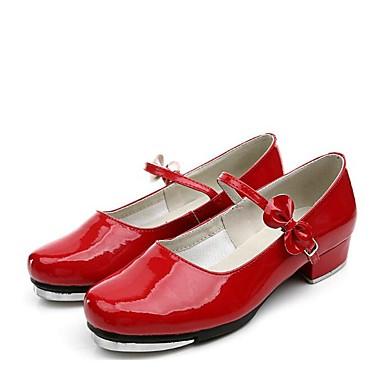 נעלי ריקוד דמוי עור עקבים / סוליה חצויה עקב נמוך מותאם אישית נעלי ריקוד שחור / כסף / אדום
