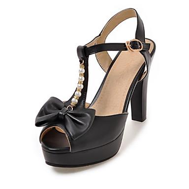 בגדי ריקוד נשים נעליים PU אביב / קיץ נוחות / חדשני סנדלים עקב סטילטו בוהן מציצה פפיון / ניטים / אבזם שחור / ורוד / שקד / מסיבה וערב
